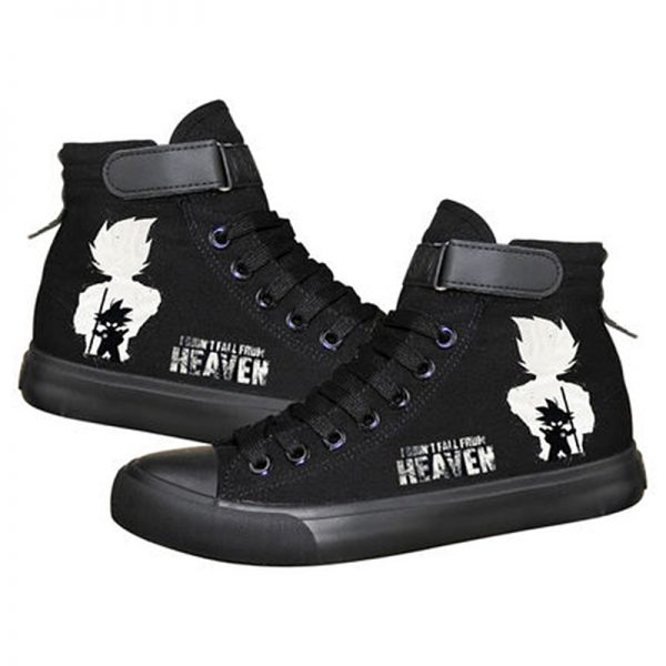 Anime Dragon Ball Print Black Canvas Shoes For Men And Women