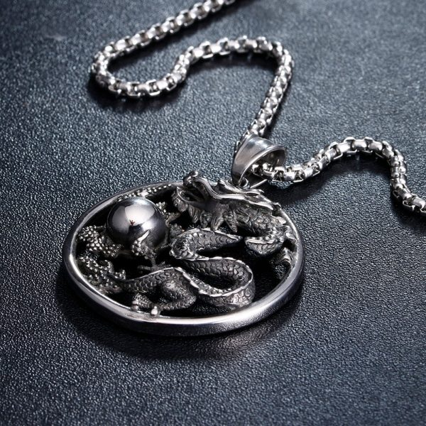 Myth Evil Dragon Ball Pendant Necklaces Stainless Steel