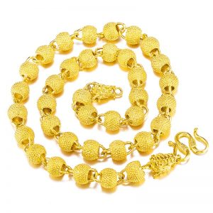 Dragon Beads Tube Real 24KT Gold Chain Necklace