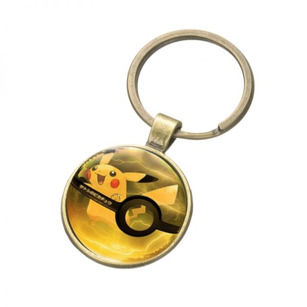 Pikachu Pokeball keyring chain
