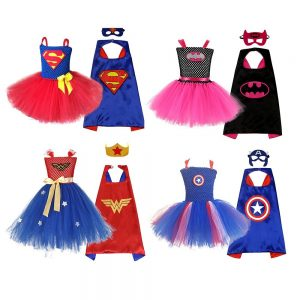 Superman Girls Dress with Mask Super Hero Baby Costume Kids Cosplay